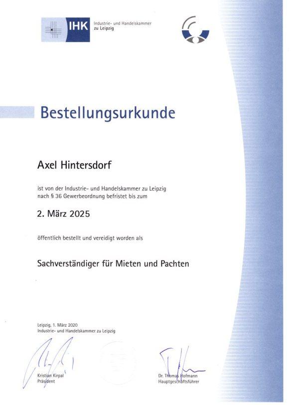 Bestellungsurkunde Axel Hintersdorf